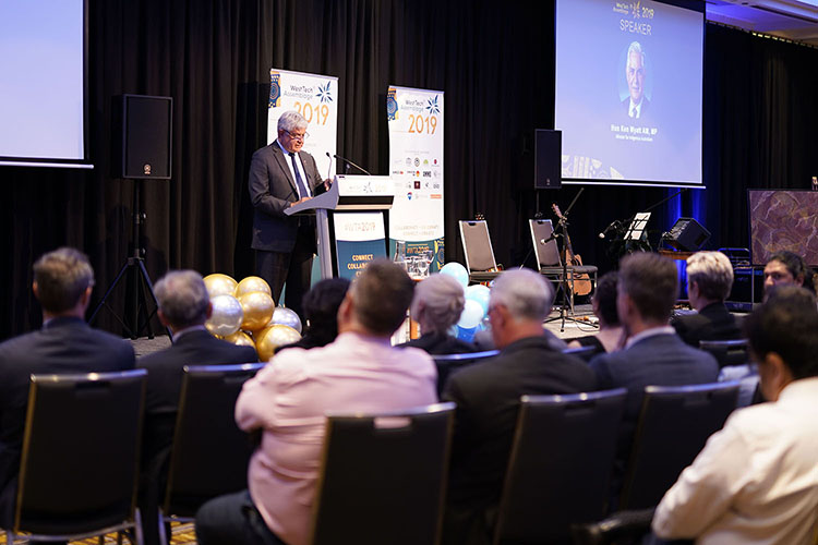 Hon. Ken Wyatt AM, MP Minister for Indigenous Australians speaking at WTA 2019 with audience