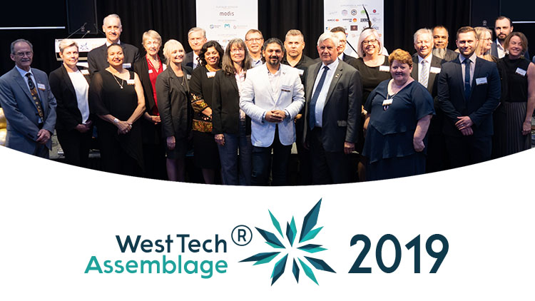 West Tech Assemblage 2019 logo and group of people banner image